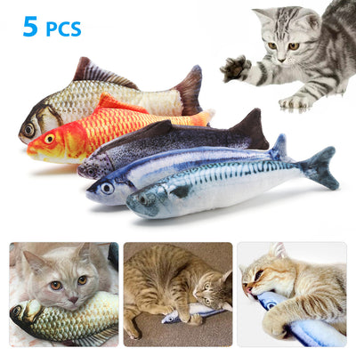 5 Pack  Fish Cat  Pet Toy - poweraddmall