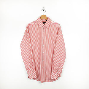 Boss Long Sleeved Button Up Striped Shirt Pink