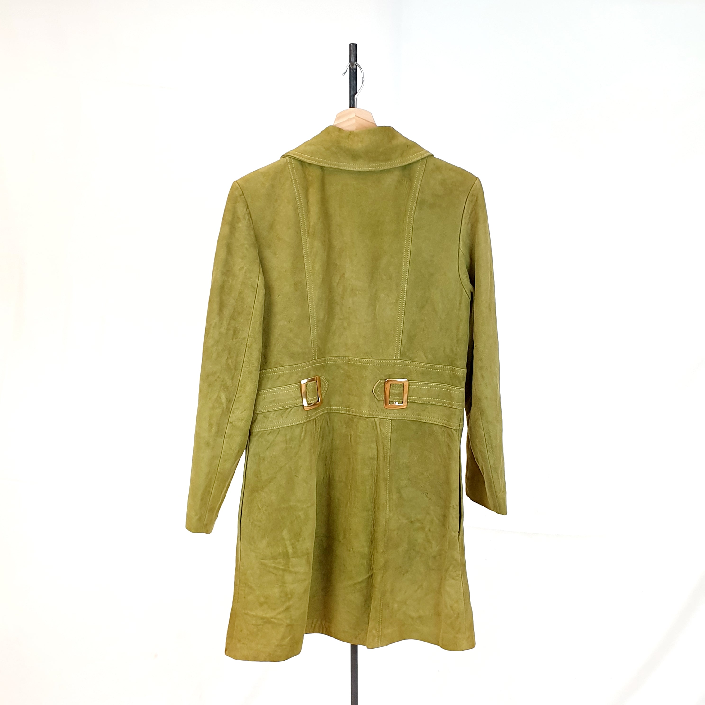 Green 70's Aesthetic Suede Coat