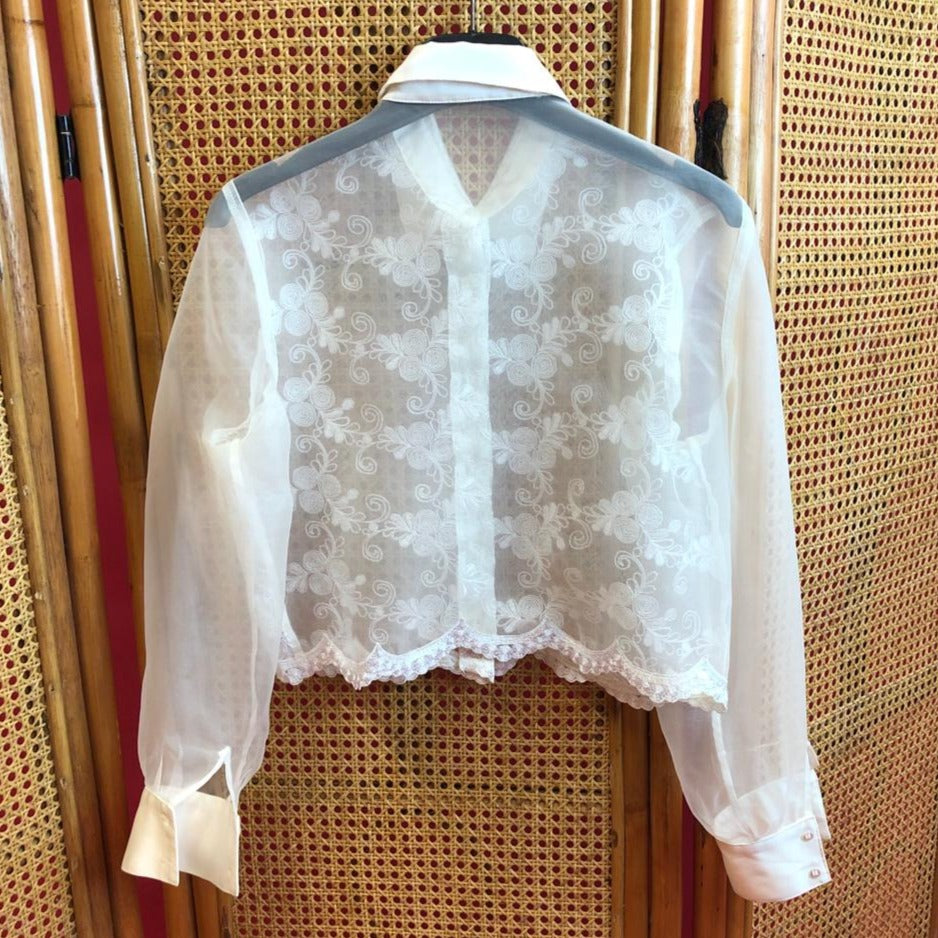Transparant Blouse With Embroidery