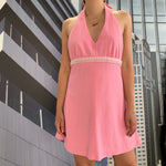 Load image into Gallery viewer, Pink Mini Halter Dress