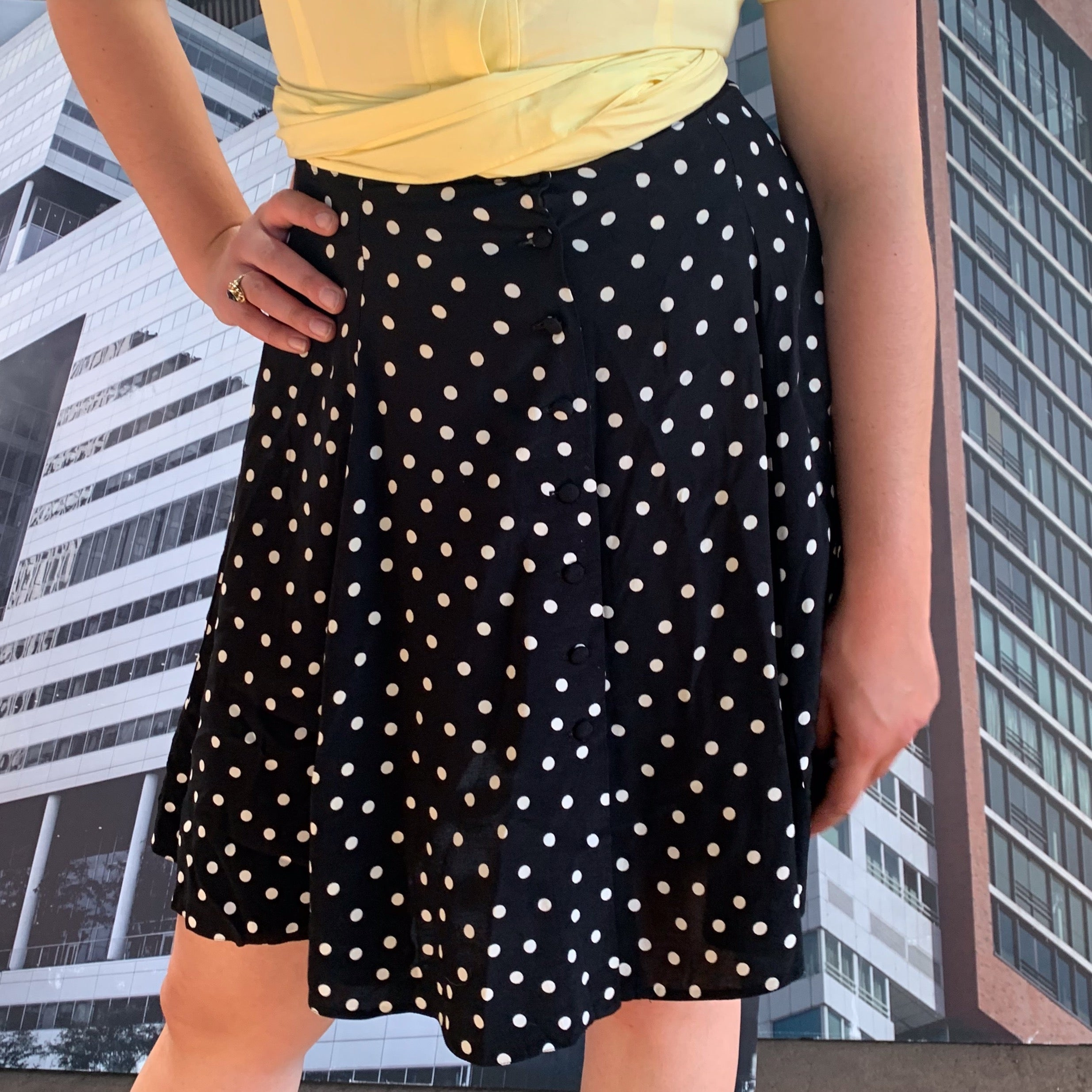 Front Button A-line Skirt