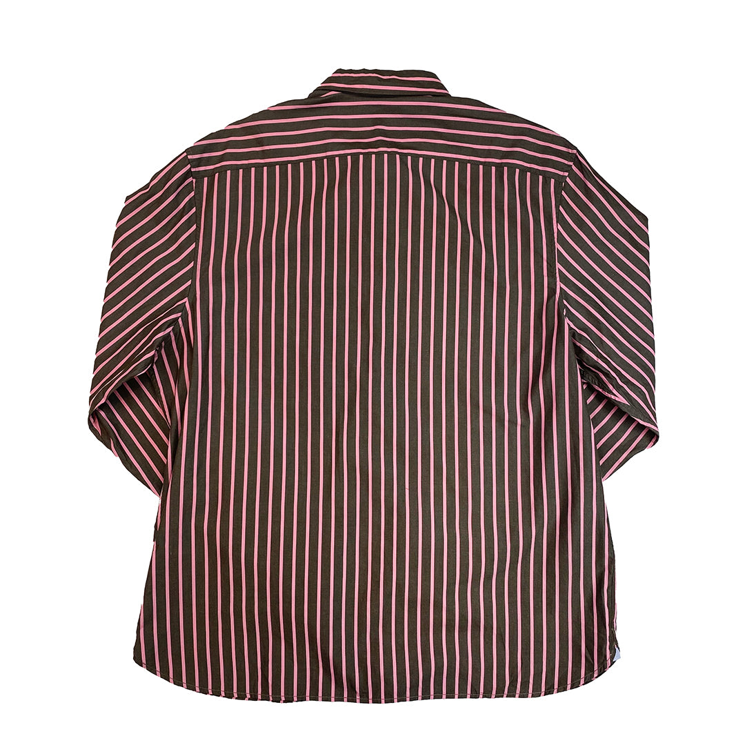 Lacoste Pink/Brown Striped Button-down Shirt
