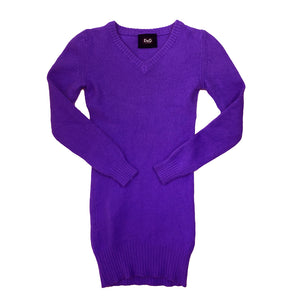 D & G Purple Wool V-neck Jumper Dress