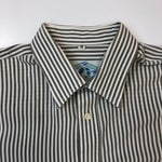 Load image into Gallery viewer, Graphic Language Grey & White Striped Shirt
