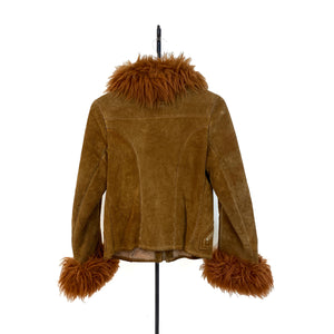 Brown Lammy Coat With Embroidery