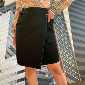 Black Skirt With Contrast Seams
