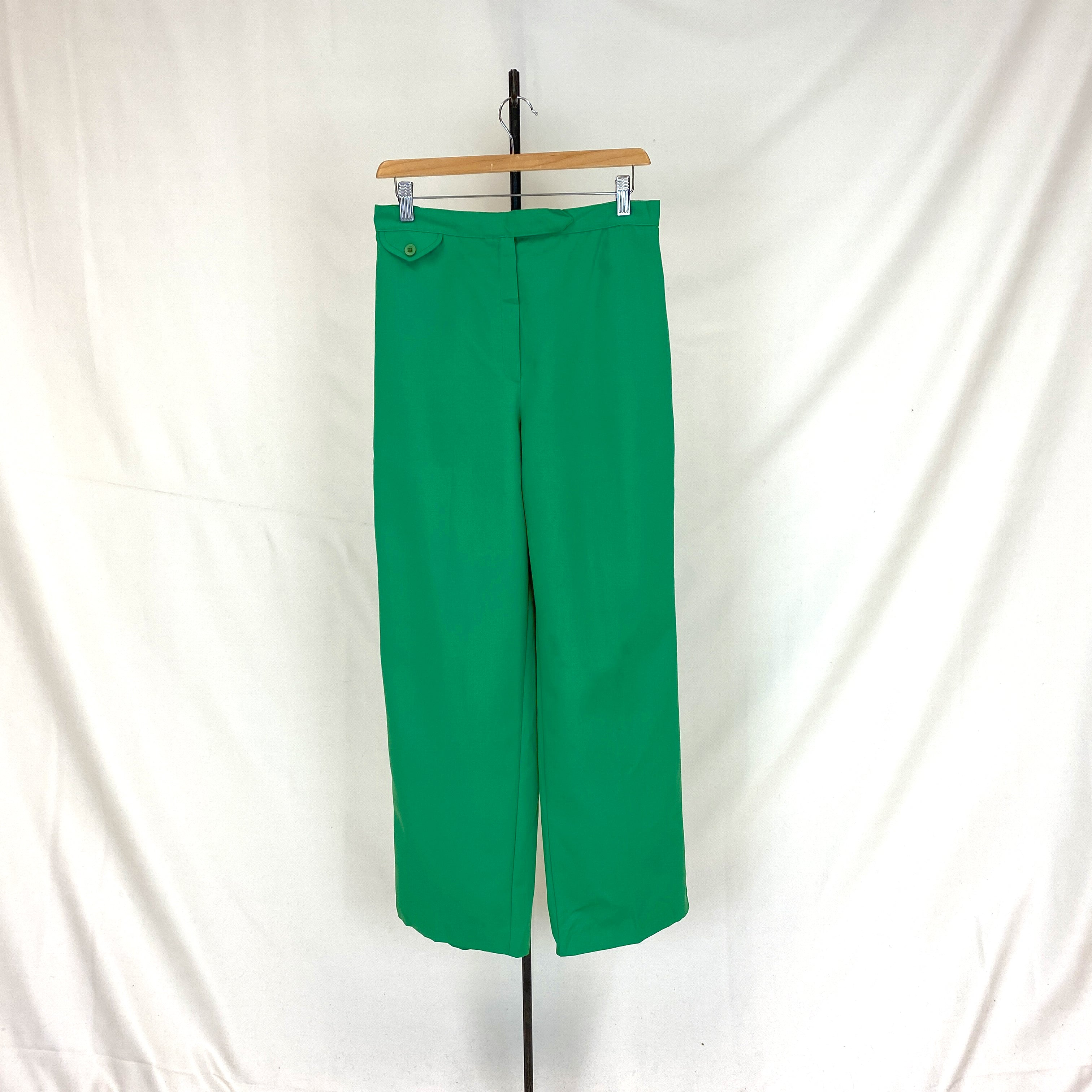 Green Flared 70s Pants
