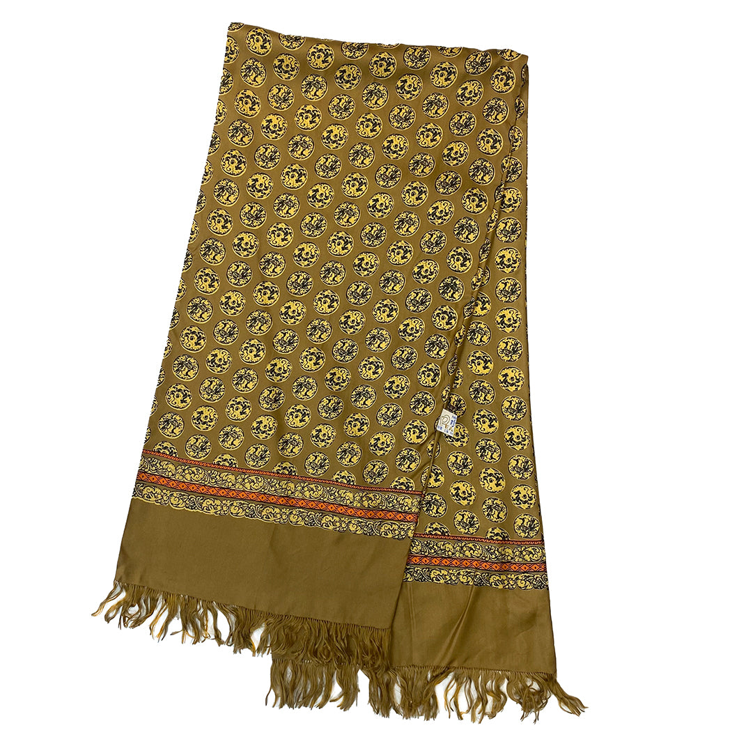 Golden Scarf with Yellow Print with Fringe