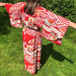 Load image into Gallery viewer, Red Kimono With Print