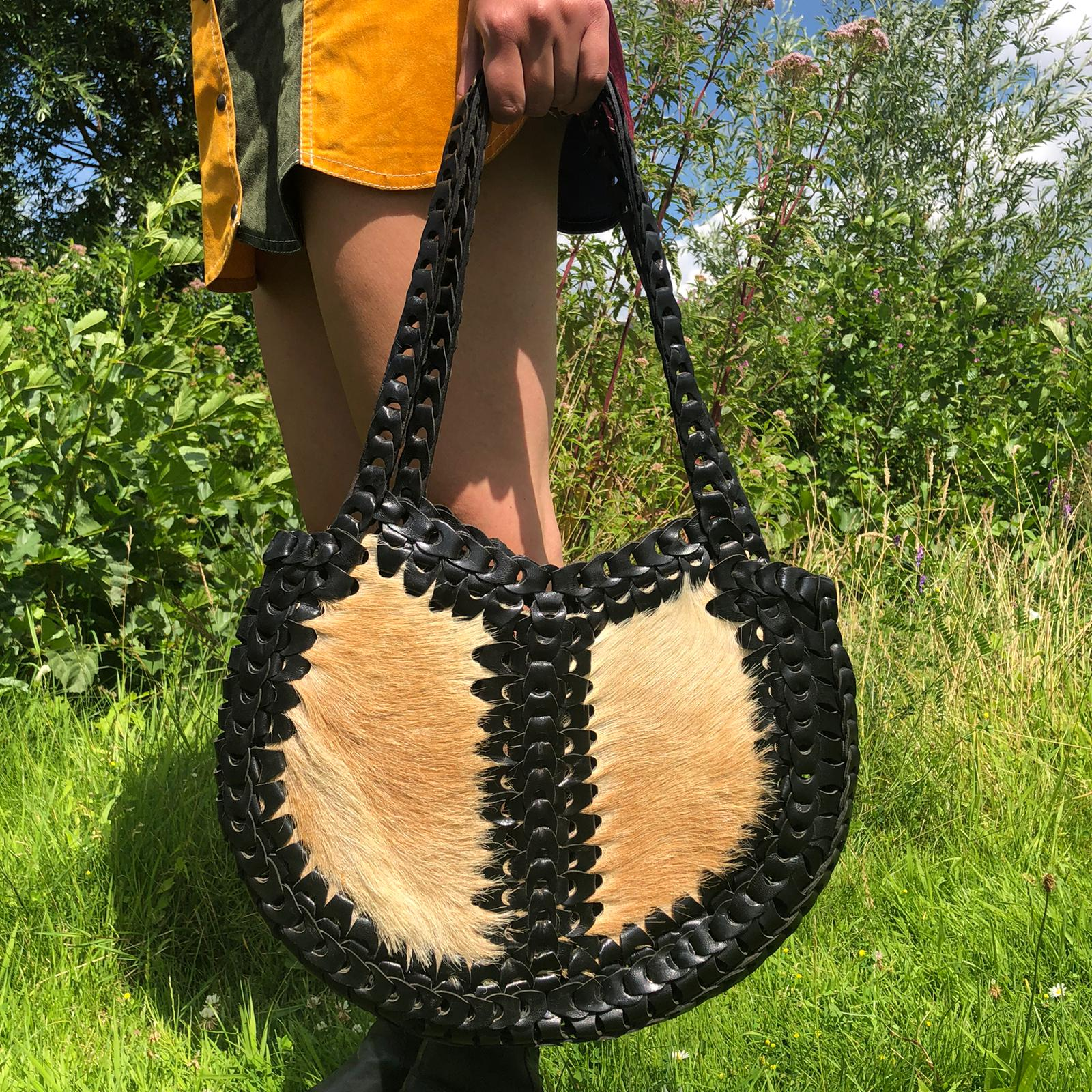 Shoulder Bag With Goat Skin