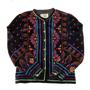 Vintage Saxton Hall Velvet Indian Print Jacket