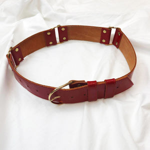 Red Leather Belt With Golden Details