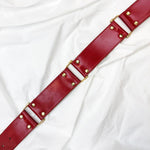 Load image into Gallery viewer, Red Leather Belt With Golden Details