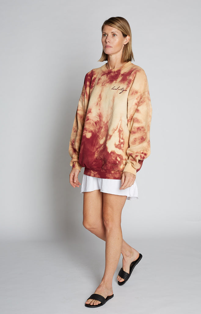 Maroon Embroidered Crew in Marble