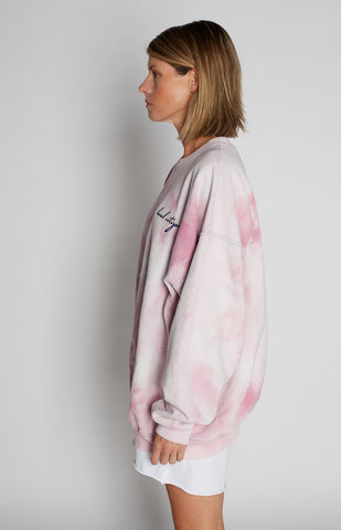 Navy Embroidered Crew in Pink