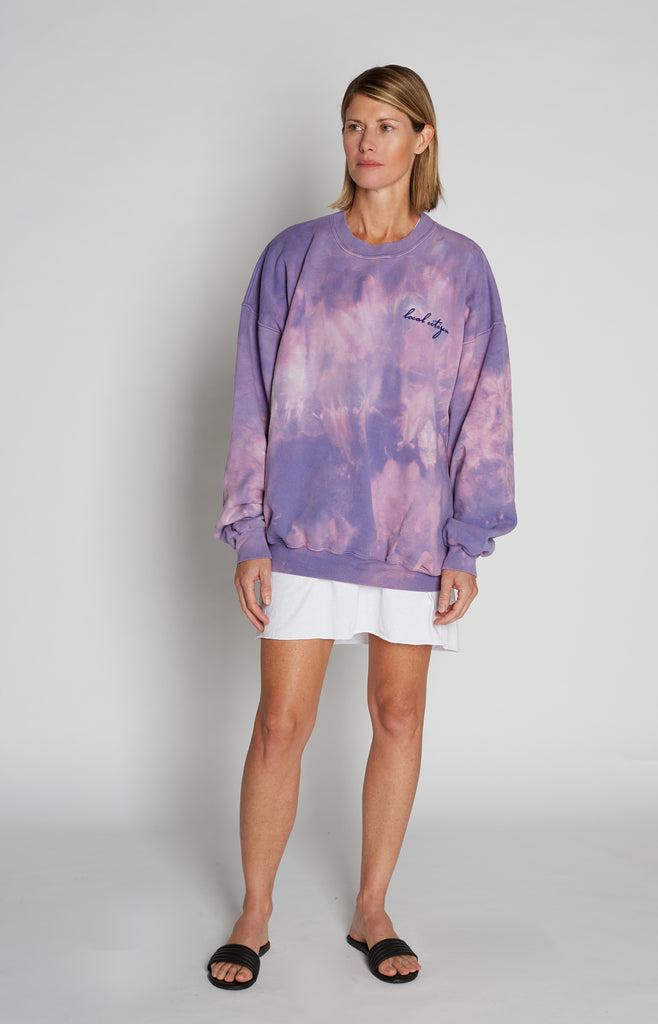 Navy Embroidered Tie Dye Crew in Ultra Violet