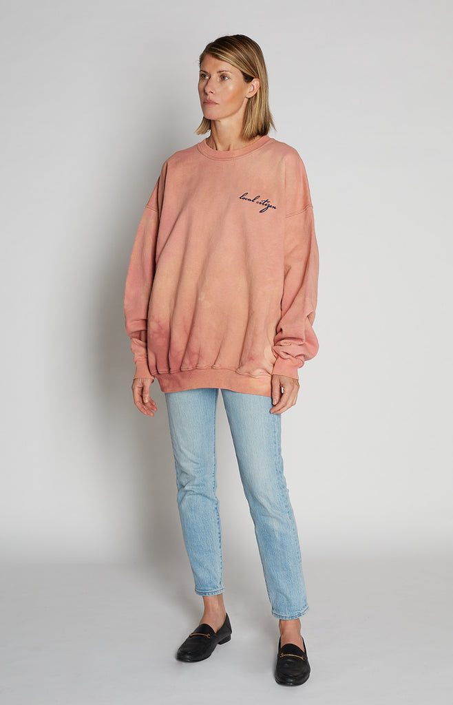 Navy Embroidered Crew in Sandy Pink