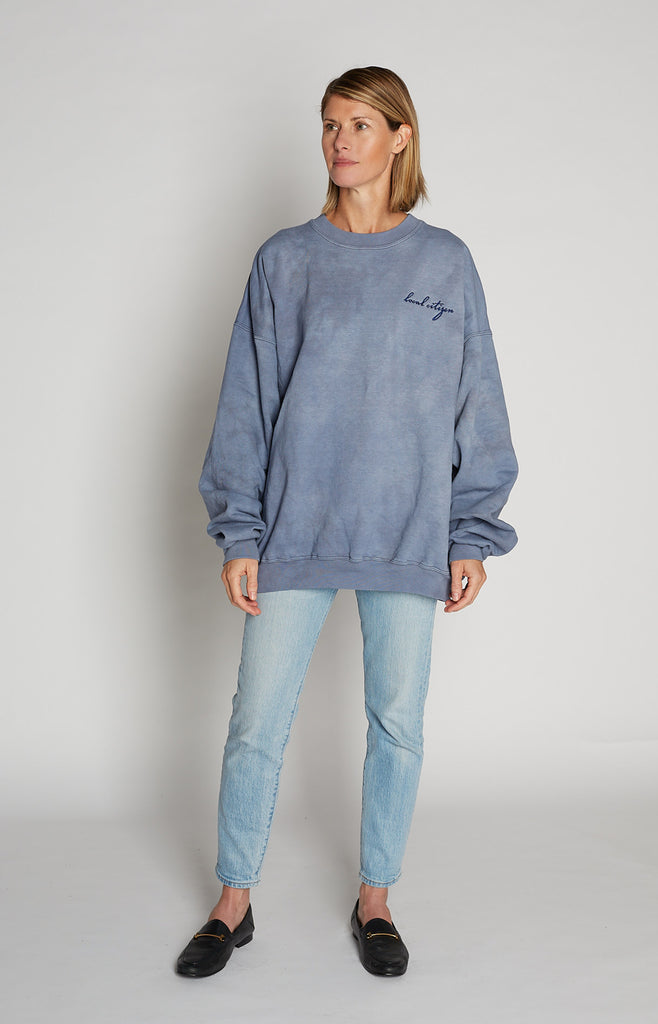 Navy Embroidered Crew in Stone Blue