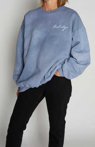 White Embroidered Crew in Stone Blue