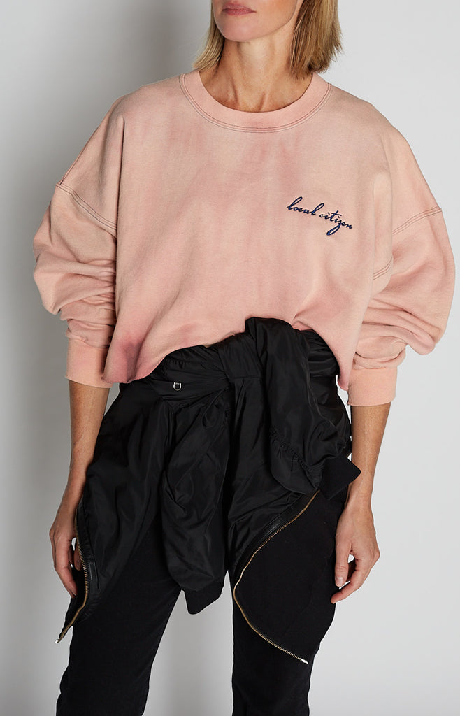 Navy Embroidered Crop Crew in Soft Pink