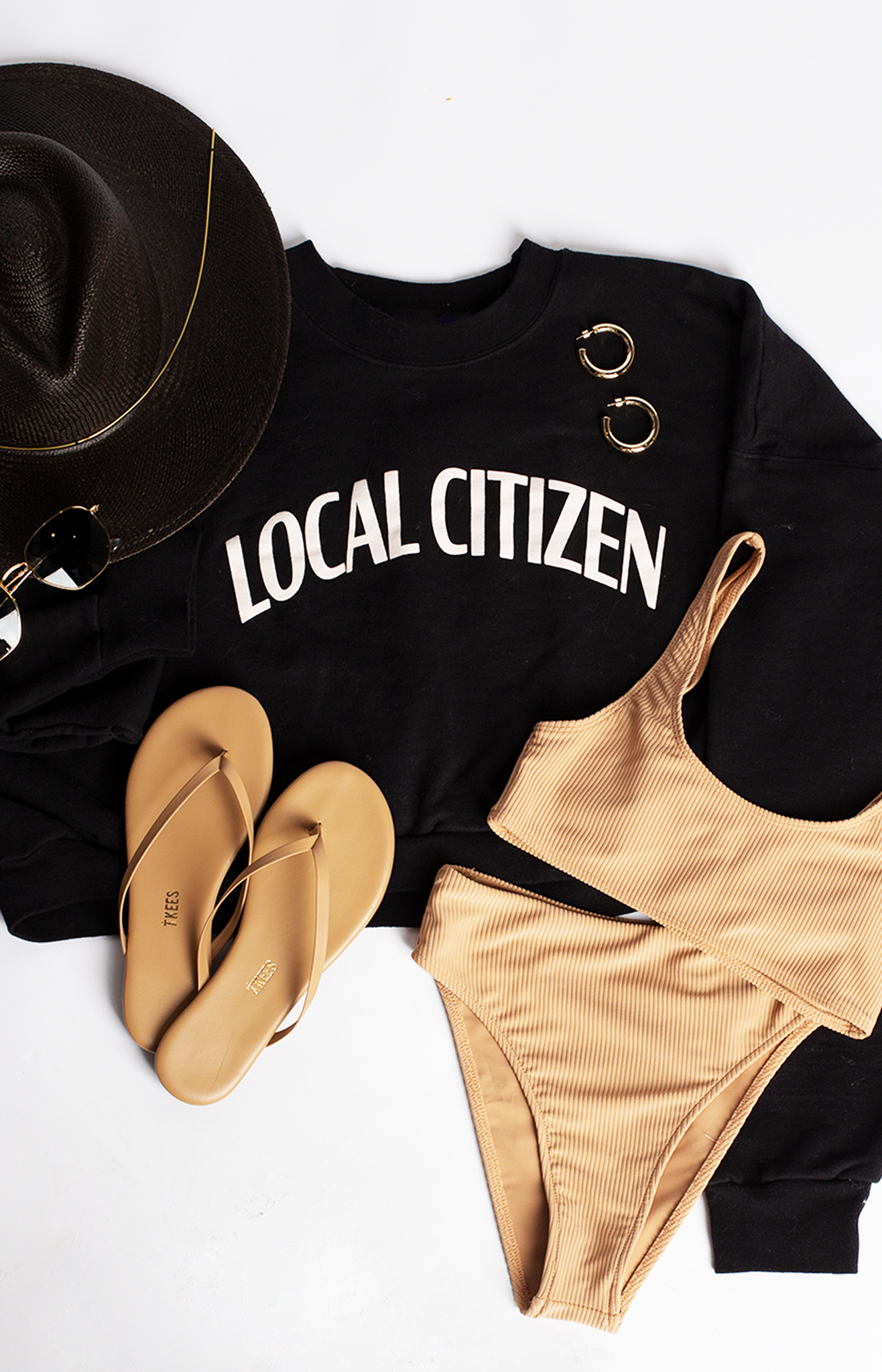 Cropped College Crew in Black
