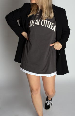 Oversized College T in Vintage Grey