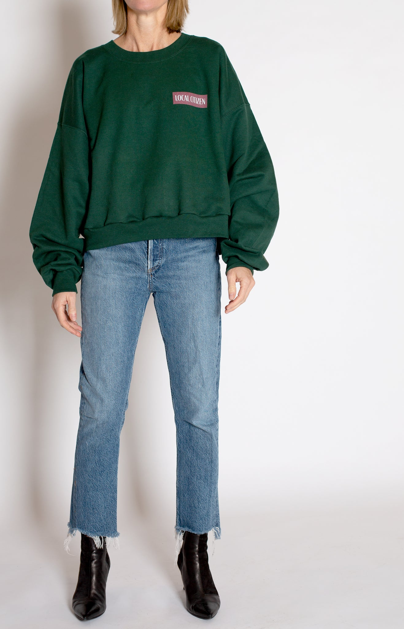 Cropped Sport Crew in Collegiate Green