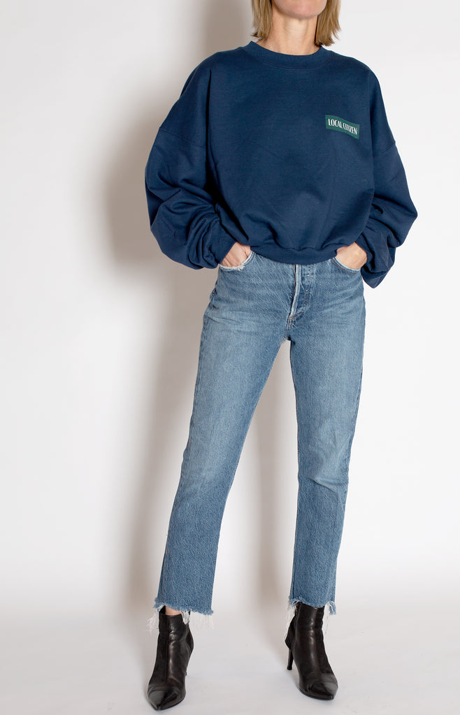 Cropped Sport Crew in Navy