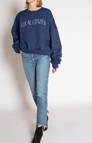 Cropped Logo Sport Crew In Navy