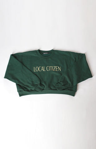 Cropped Logo Sport Crew in Collegiate Green