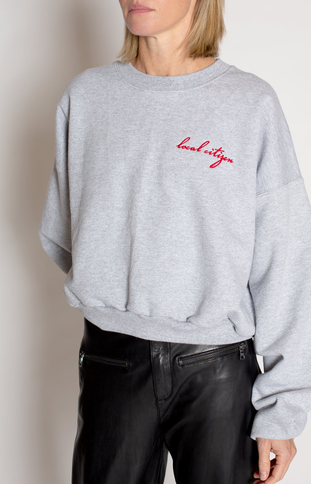 Red Embroidered Cropped Crew in Stone Grey