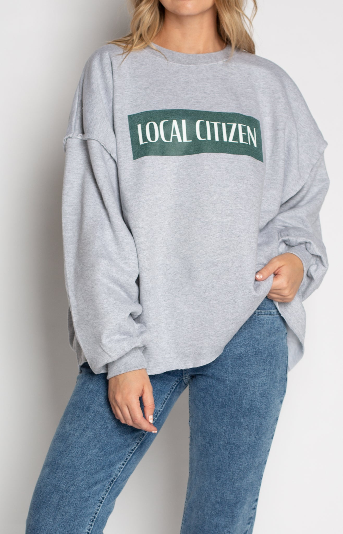 Raw Edge Vintage Logo Crew In Stone Grey