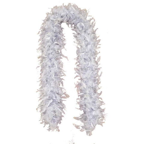 Silver Feather Boa (6' 60 grams) - FeatherBoaShop.com