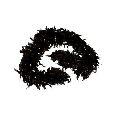 Black Feather Boa with Tinsel (6' 60 grams) - FeatherBoaShop.com