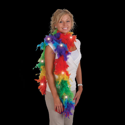 LED Flashing Rainbow Feather Boa - FeatherBoaShop.com