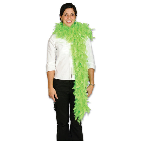 Neon Green Plush Feather Boa - FeatherBoaShop.com