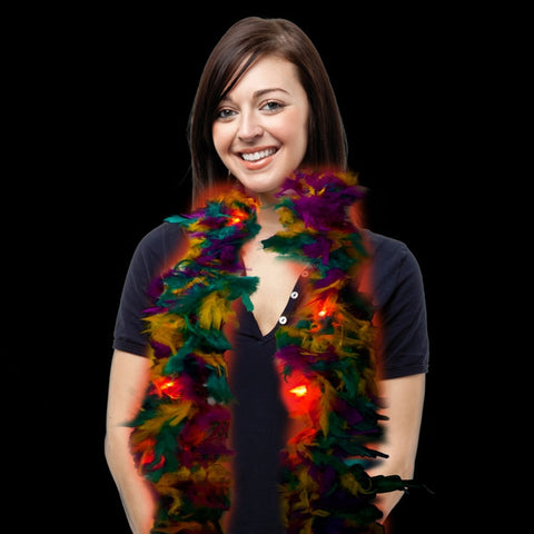 LED Flashing Mardi Gras Feather Boa - FeatherBoaShop.com
