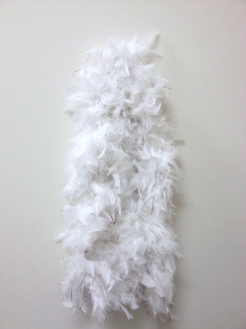 White Feather Boa with Tinsel (6` 60 grams) - FeatherBoaShop.com