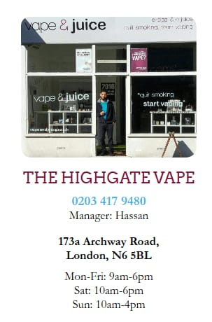 Vape shop near me for Electronic cigarettes juice in Archway or Highgate?