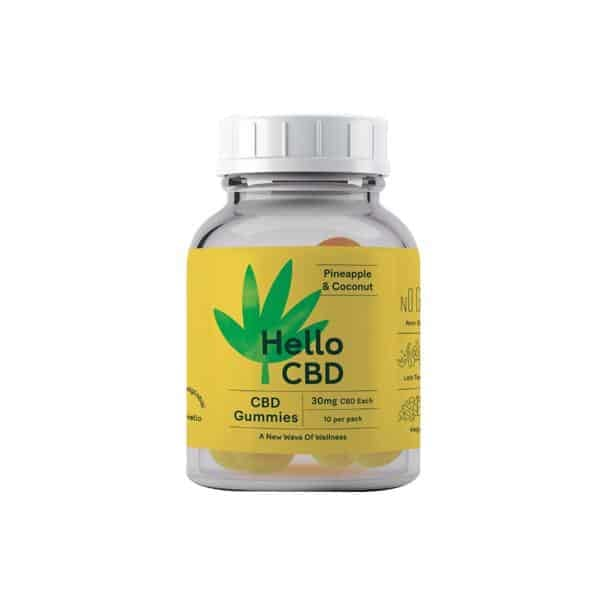 Hello CBD 300mg CBD Gummies – Pineapple & Coconut - CBD Gummy Bears