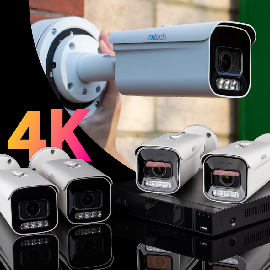 Zxtech 4x Premio White 4K/8MP/5MP Face Recognition Auto Zoom Security Camera System