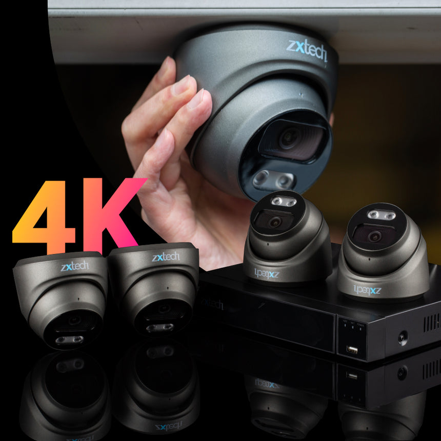 Zxtech 4x MegaValue Grey 4K/8MP/5MP Face Recognition Built-in Mic Security Camera System