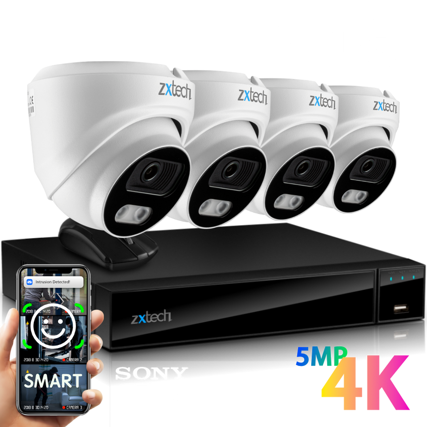 Zxtech 4x MegaValue White 4K/8MP/5MP Face Recognition Built-in Mic PoE Security Camera System