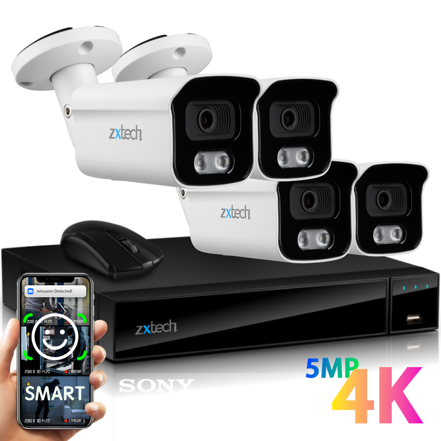Zxtech 4x BabyBullet White 4K/8MP/5MP Face Recognition Built-in Mic Security Camera System