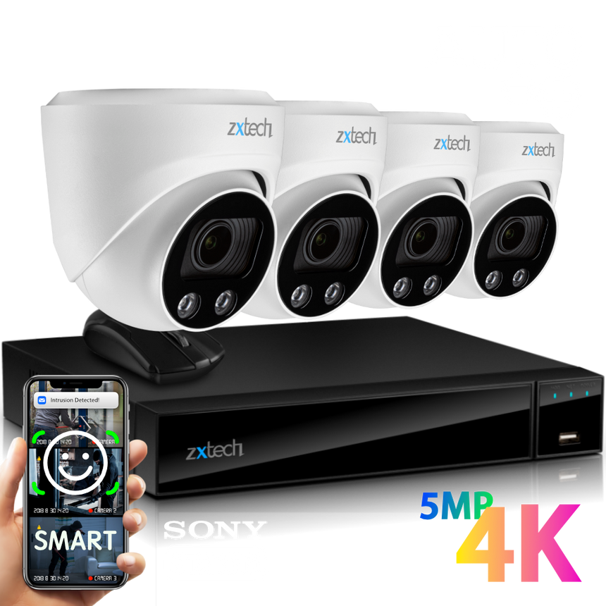 Zxtech 4x Atlas White 4K/8MP/5MP Face Recognition Auto Zoom Security Camera System