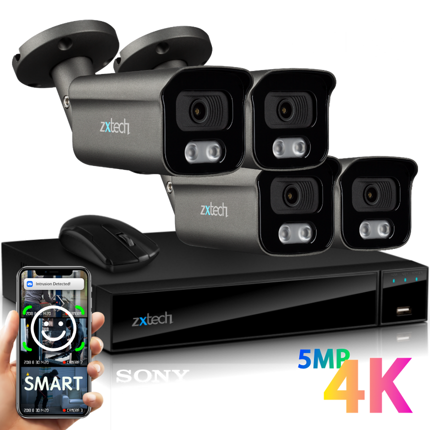 Zxtech 4x BabyBullet Grey 4K/8MP/5MP Face Recognition Built-in Mic Security Camera System