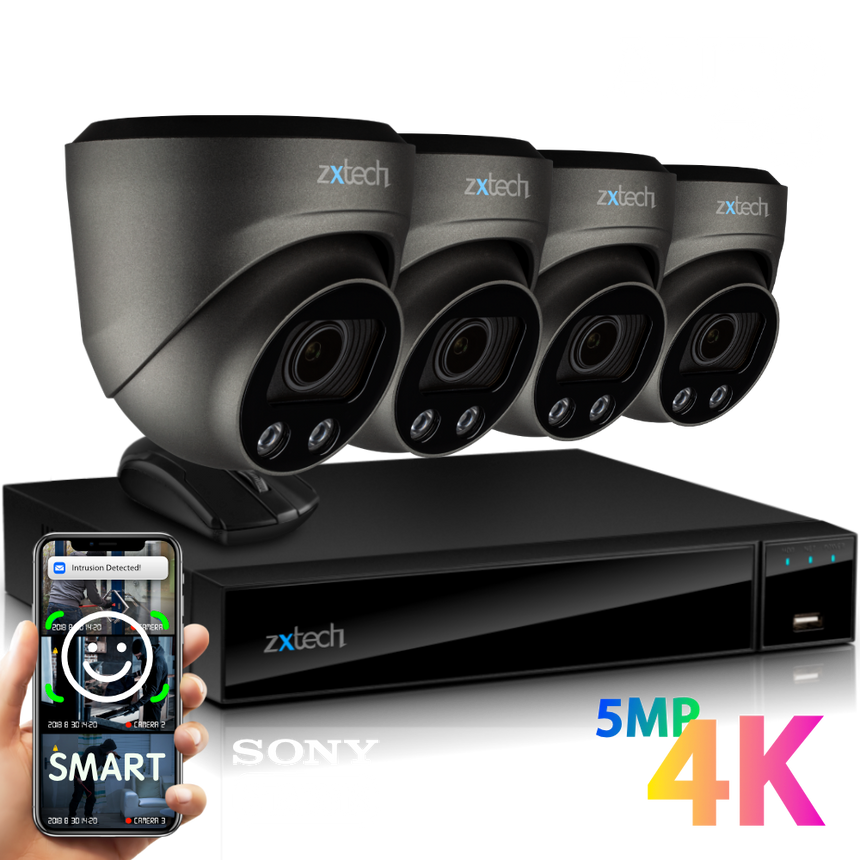 Zxtech 4x Atlas Grey 4K/8MP/5MP Face Recognition Auto Zoom Security Camera System