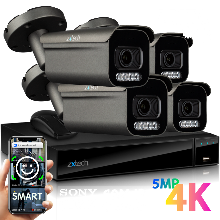 Zxtech 4x Premio Grey 4K/8MP/5MP Face Recognition Auto Zoom Security Camera System