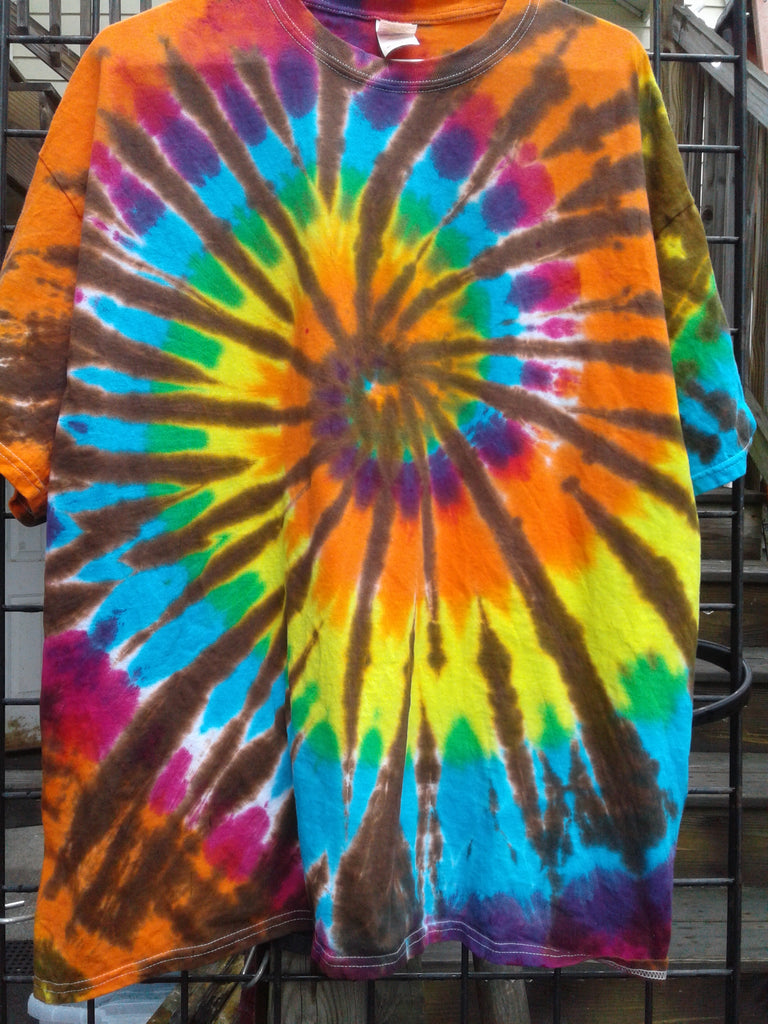 Brown Web Rainbow Spiral T-Shirt